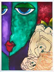 Aurum roses et mulier 1 Glasmalerei Kunst